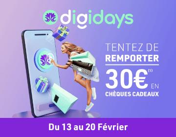 Digidays février 2021 - Tentez de remporter 30€ en chèques cadeaux
